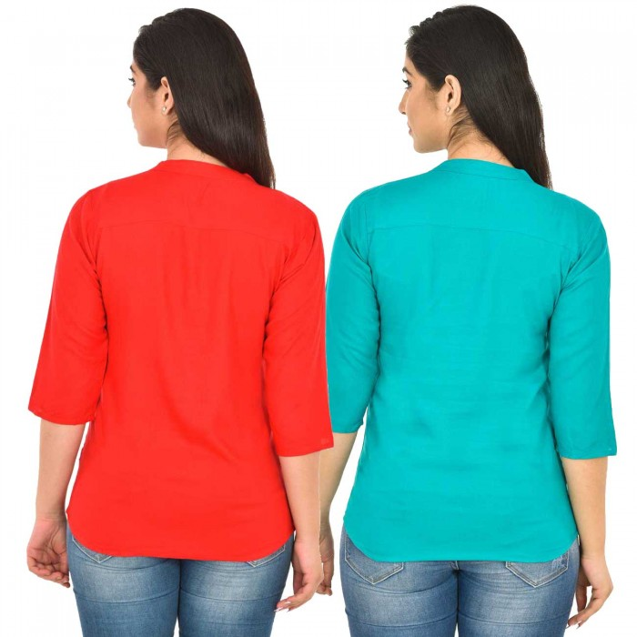 Red and Sky Blue Rayon  for Women Tops Combo Pack