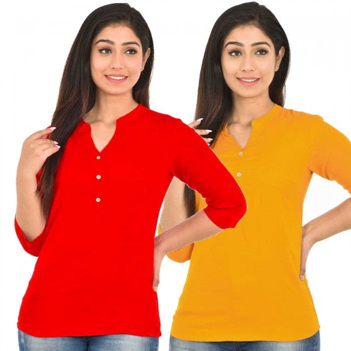 Red and Yellow Rayon Women Tops Combo Pack