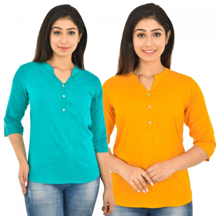 Sky Blue and Yellow  Rayon Women Tops Combo Pack