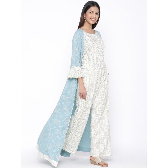 Sky Blue White Rayon Kurta with Long Jacket Set