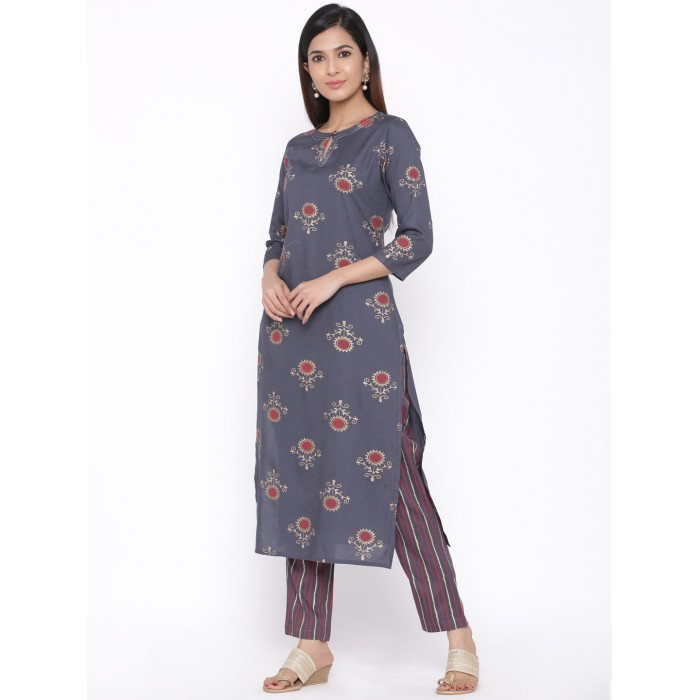 Flower Printed Kurta with Multicolor Striped Pant Set